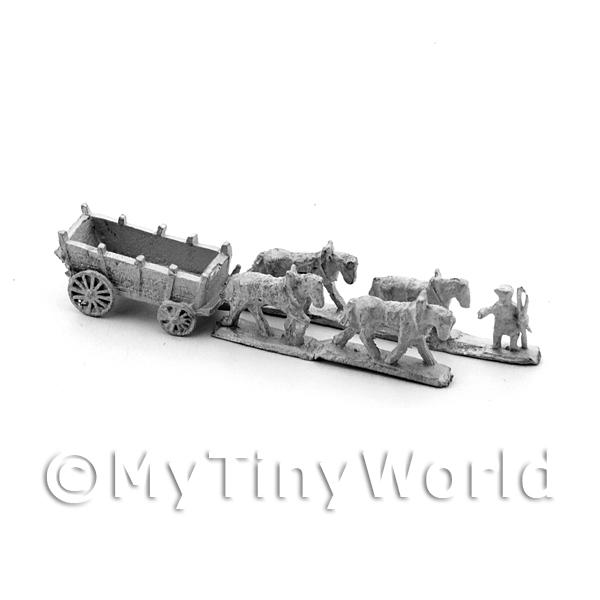 Dolls House Metal Marlburian Large Wagon With 4 Horses
