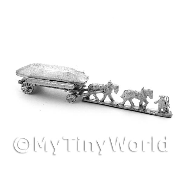 Metal Marlburian Pontoon Bridge, Cart, 2 Horses and Driver