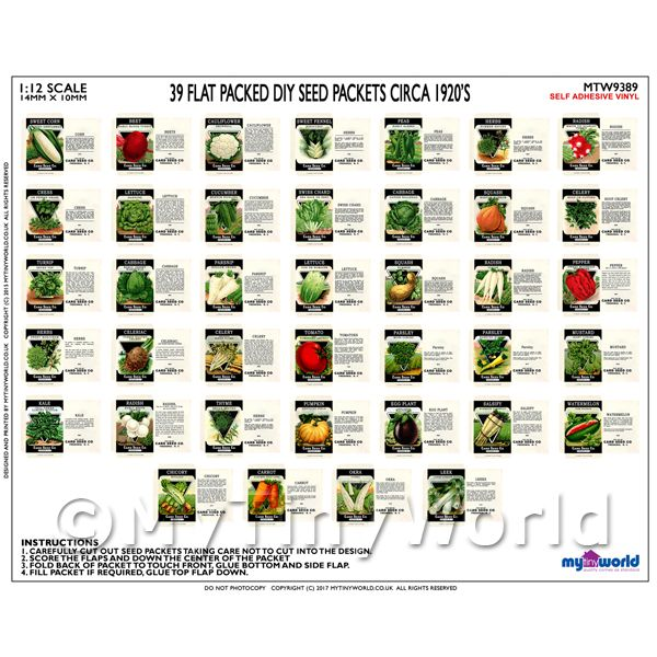 Dolls House Miniature  | Set of 39 Dolls House Miniature Seed Packets (SPS10)