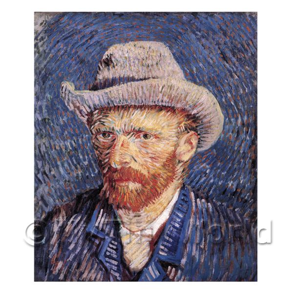 1/12 Scale Dolls House Miniatures  | Van Gogh Painting Self Portrait With Felt Hat
