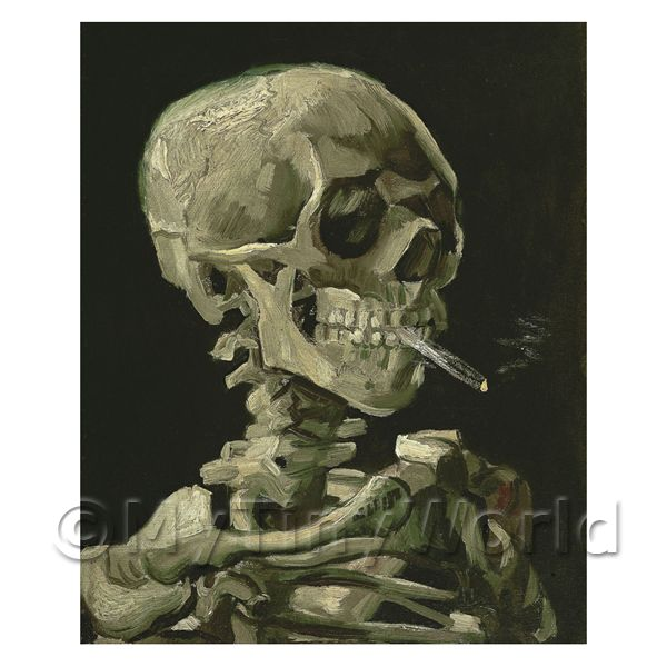 Van Gogh Painting Skeleton With a Burning Cigarette