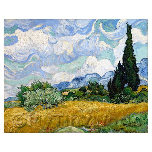 Dolls House Miniature  | Van Gogh Painting Wheatfield With Cypresses