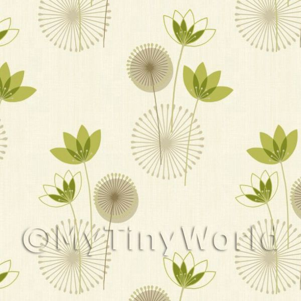 Dolls House Miniature Styalised Sage Green Flower Wallpaper