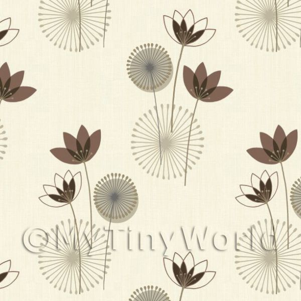 Dolls House Miniature Styalised Chocolate Flower Wallpaper