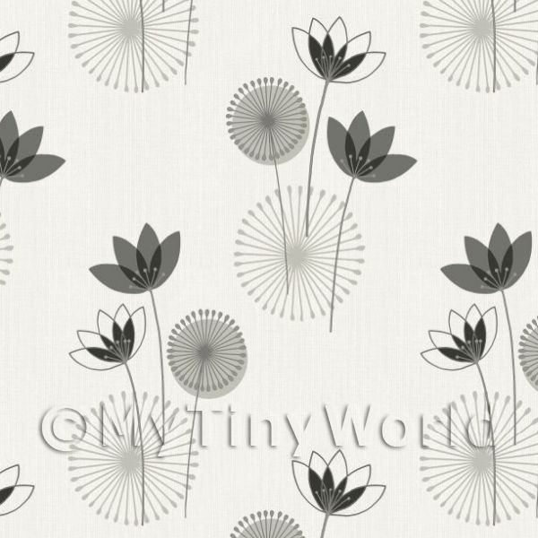Dolls House Miniature Styalised Monochrome Flower Wallpaper