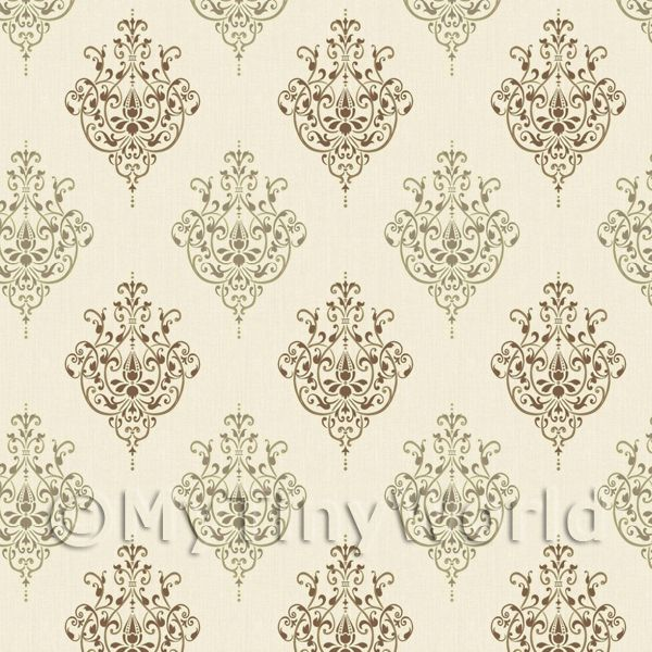 Dolls House Miniature Chocolate Heraldic Diamond Wallpaper