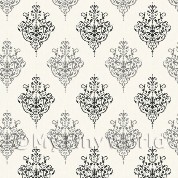 Dolls House Miniature Black On Cream Heraldic Diamond Wallpaper