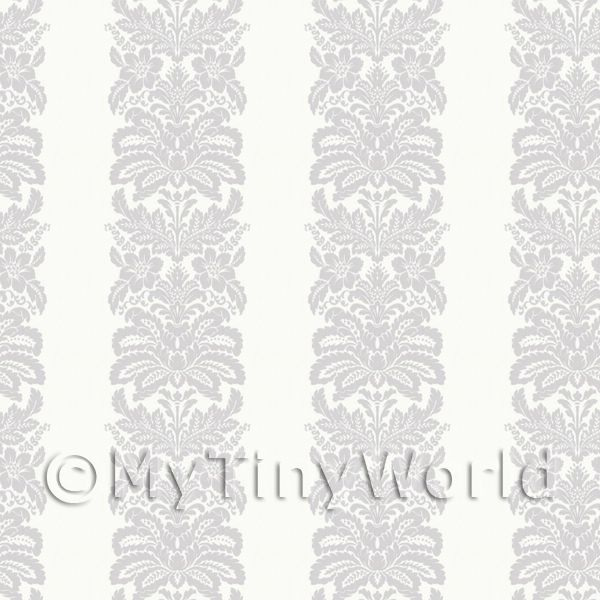 Dolls House Miniature Grey Floral Stripes Wallpaper