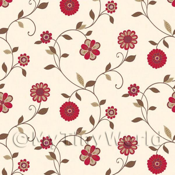 Dolls House Miniature  | Dolls House Miniature Mixed Red Flower Wallpaper