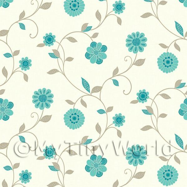 Dolls House Miniature Mixed Teal Flower Wallpaper