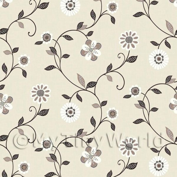 Dolls House Miniature Mixed Black And White Flowers Wallpaper