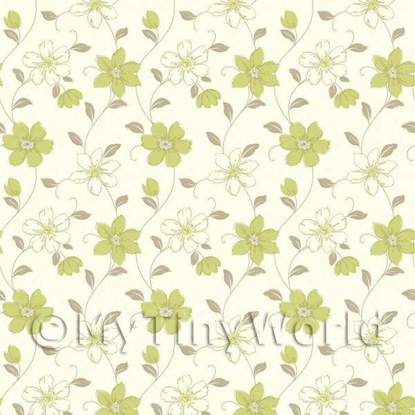 Dolls House Miniature 6 Petal Sage Green Flower Wallpaper
