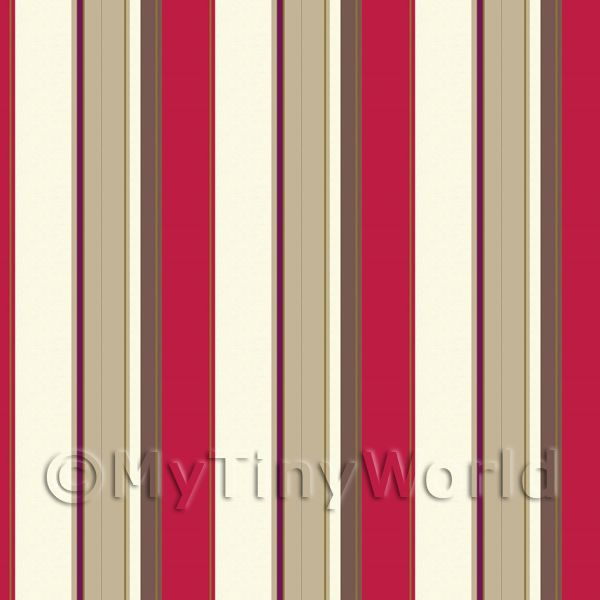 Dolls House Miniature Funky Red Stripes Wallpaper