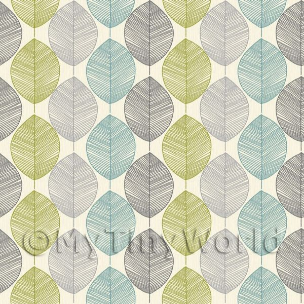 1/12 Scale Dolls House Miniatures  | Dolls House Miniature Green And Blue Leaf Wallpaper