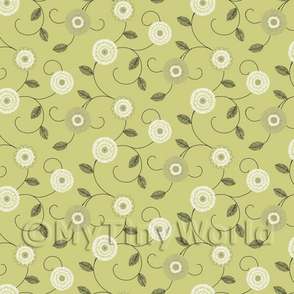Dolls House Miniature Round White And Green Flower Wallpaper