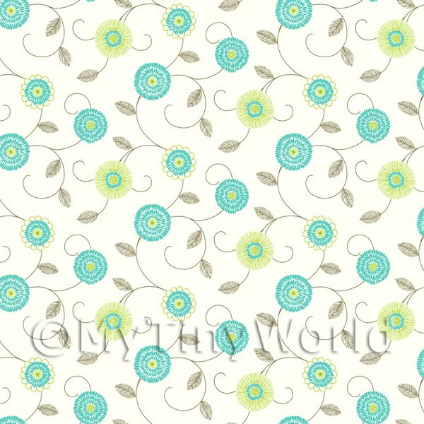 Dolls House Miniature Round Cyan And Green Flower Wallpaper