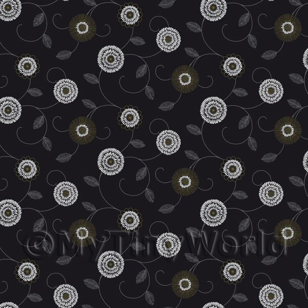 Dolls House Miniature Round Black And White Flower Wallpaper