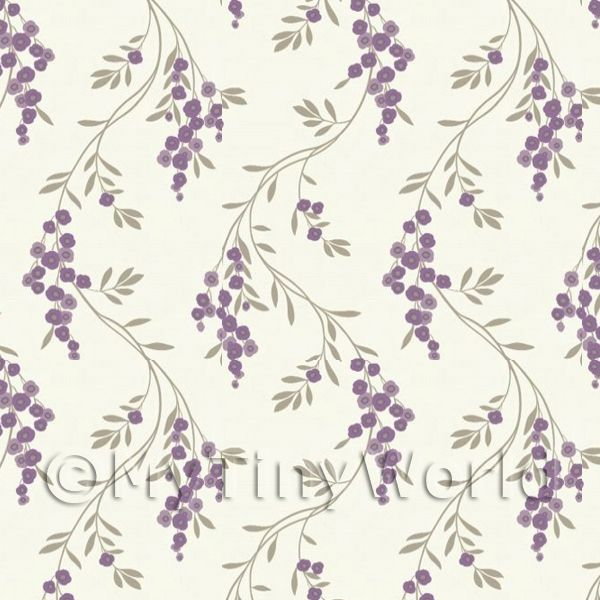 Dolls House Miniature Hanging Purple Flower Wallpaper