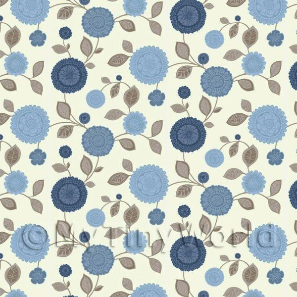 Dolls House Miniature Mixed Blue Flower Wallpaper