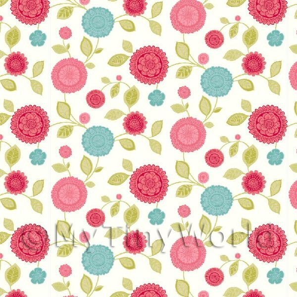 Dolls House Miniature Mixed Red And Blue Flower Wallpaper