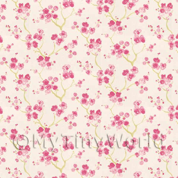 1/12 Scale Dolls House Miniatures  | Pack of 5 Dolls House Pink Blossom Wallpaper Sheets