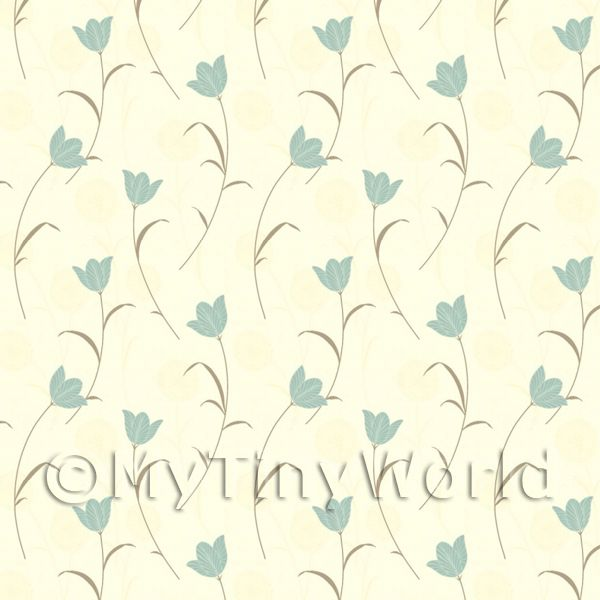 Dolls House Miniature Pale Blue Flower And Stem Wallpaper