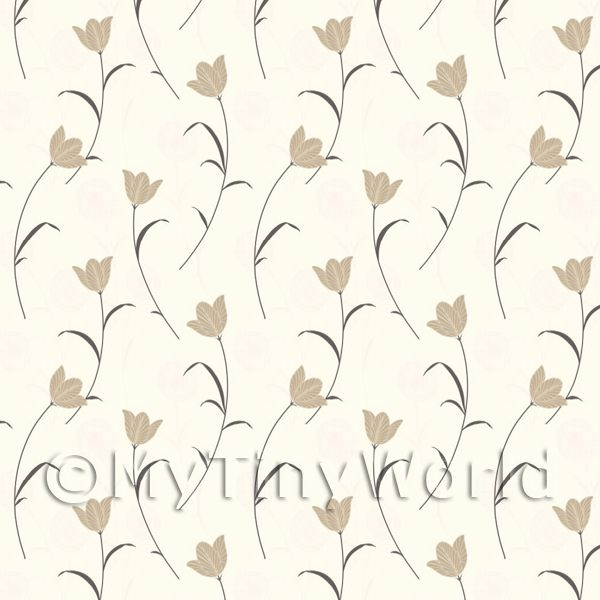 Dolls House Miniature Pale Gold Flower And Stem Wallpaper