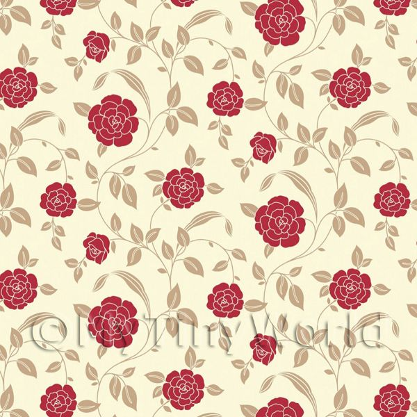 Dolls House Miniature Red Rose Wallpaper