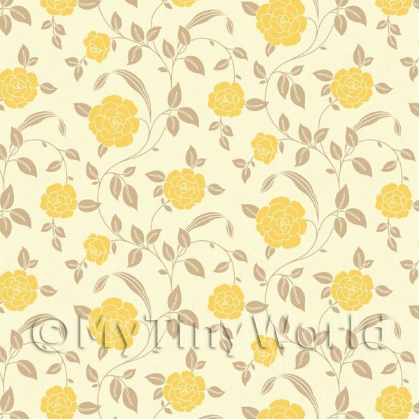 Pack of 5 Dolls House Yellow Roses Wallpaper Sheets