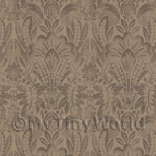 Dolls House Miniature  | Dolls House Miniature Intricate Pale Gold On Brown Wallpaper