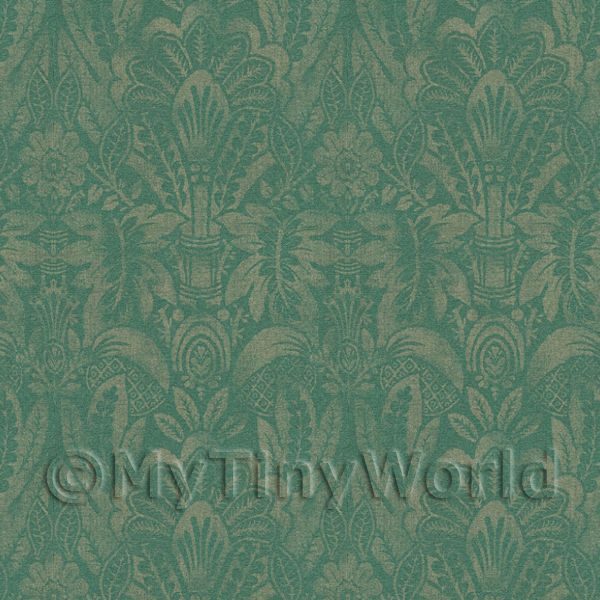 Dolls House Miniature Intricate Pale Gold On Green Wallpaper