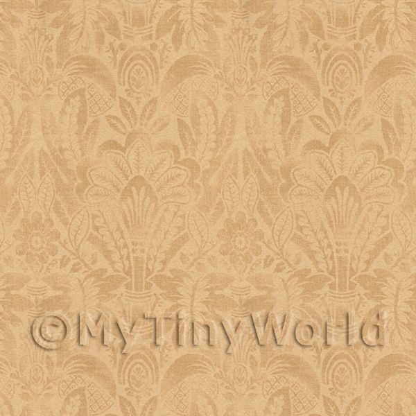Dolls House Miniature Intricate Pale Gold On Beige Wallpaper