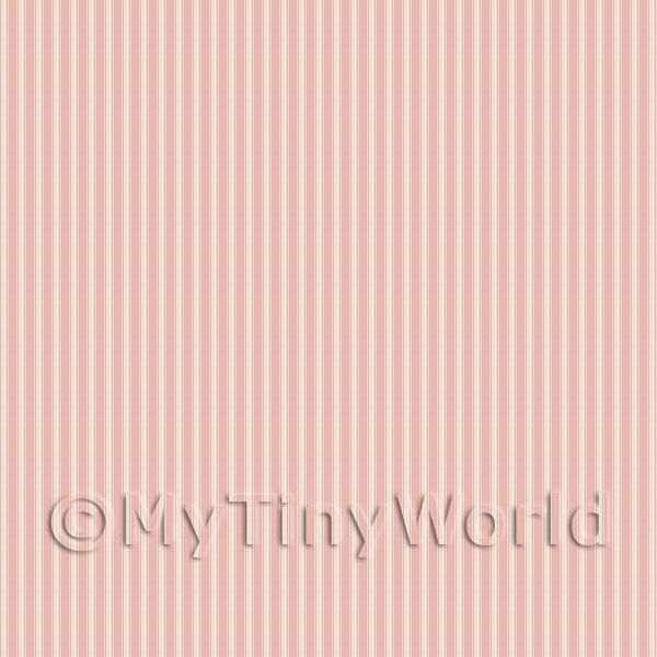 Dolls House Miniature Pale Red Thin Striped Wallpaper