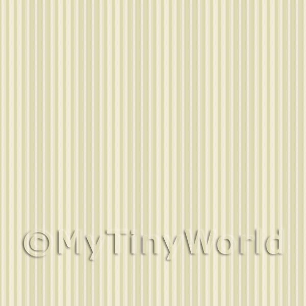 Dolls House Miniature Sage Green Thin Striped Wallpaper