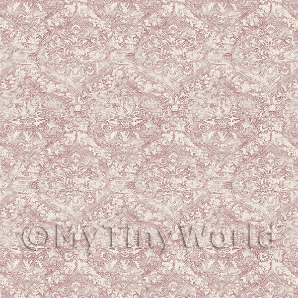 1/12 Scale Dolls House Miniatures  | Dolls House Miniature Intricate Old Red Pattern Wallpaper