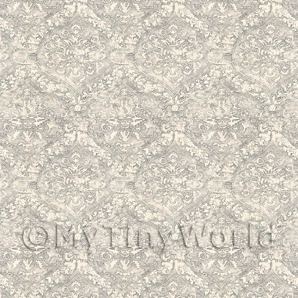 Dolls House Miniature Intricate Old Grey Pattern Wallpaper