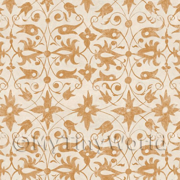 Dolls House Miniature Sand Colour Wood Cut Wallpaper