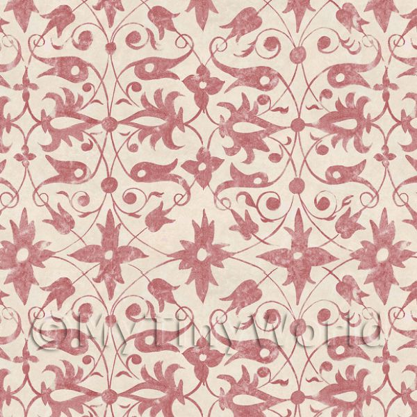 Dolls House Miniature Red Wood Cut Print Style Wallpaper