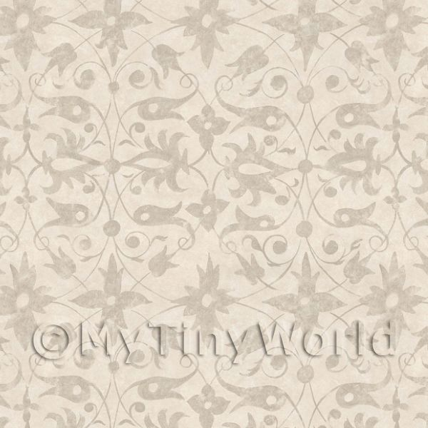 Dolls House Miniature Beige Wood Cut Print Style Wallpaper