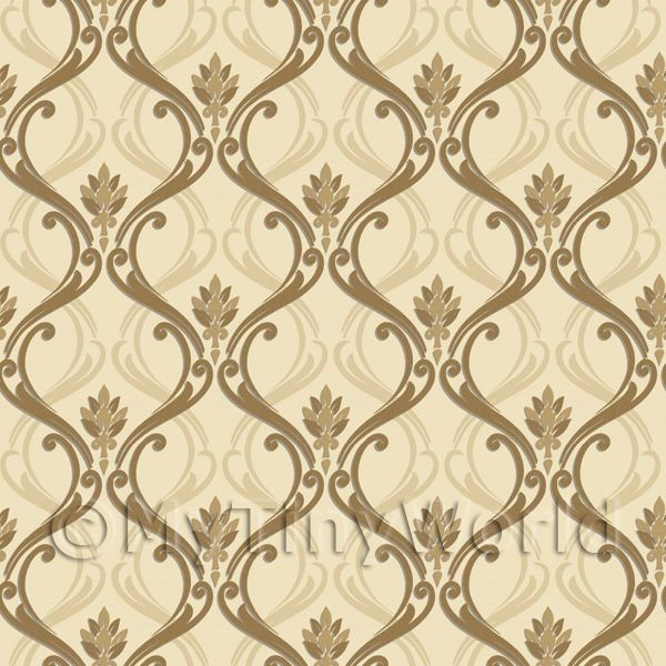 Patterned wallpaper dolls house miniature mytinyworld for Gold wallpaper designs