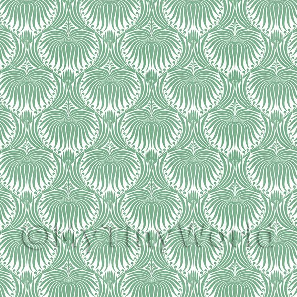 Dolls House Miniature  | Dolls House Miniature Pale Green Clam Shell Wallpaper