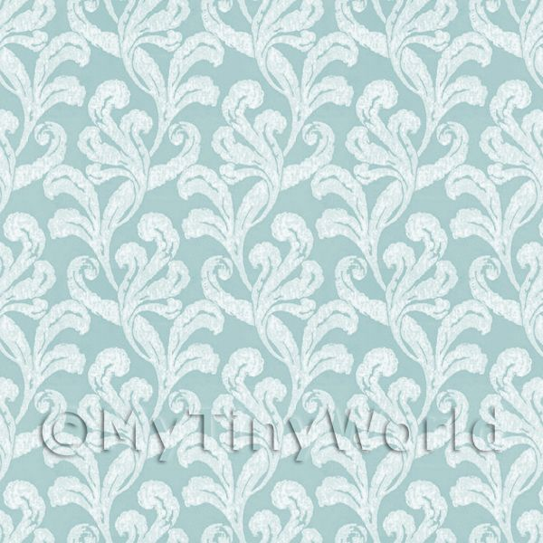 Dolls House Miniature Pale Green Furled Leaf Wallpaper