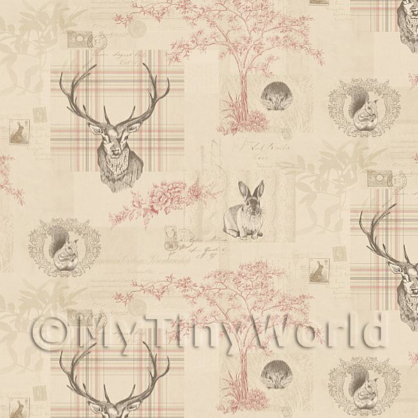 Dolls House Miniature  | Pack of 5 Dolls House Beige And Red Highland Animal Wallpaper Sheets