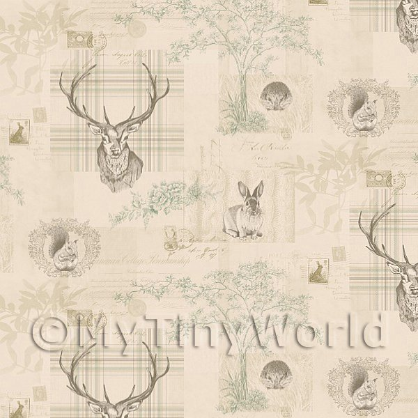 Dolls House Miniature  | Dolls House Miniature Beige And Green Highland Animal Wallpaper