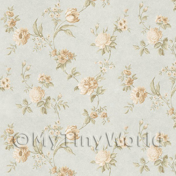 1/12 Scale Dolls House Miniatures  | Pack of 5 Dolls House Mixed White Flowers On Pale Blue Wallpaper Sheets