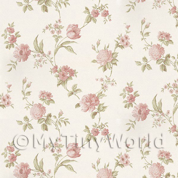 Dolls House Miniatures  | Pack of 5 Dolls House Mixed Pink Flowers On Pale White Wallpaper Sheets