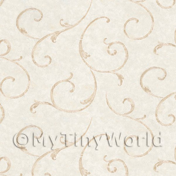 Dolls House Miniature  | Dolls House Miniature Styalised Light Brown Swirls Wallpaper