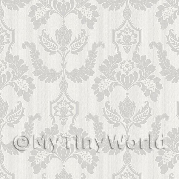 Dolls House Miniature Heraldic Style Pale Grey Design Wallpaper
