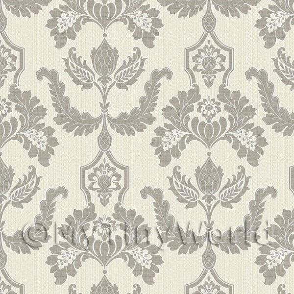 Dolls House Miniature Heraldic Style Dark Grey Design Wallpaper