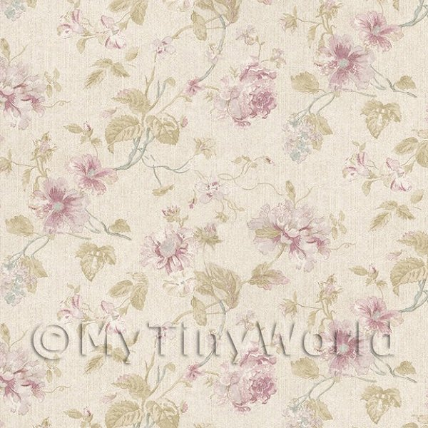 1/12 Scale Dolls House Miniatures  | Pack of 5 Dolls House Pale Violet Mixed Flower Design Wallpaper Sheets